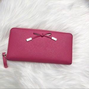 Handbags - Kate Spade Pink Crosshatched Leather Wallet